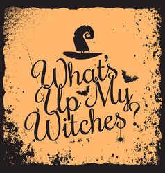 Halloween vintage lettering witches concept design vector