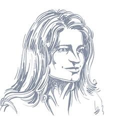 Hand-drawn portrait of white-skin romantic tender vector