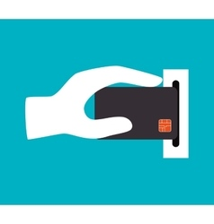 hand holdinh credit card icon design vector image