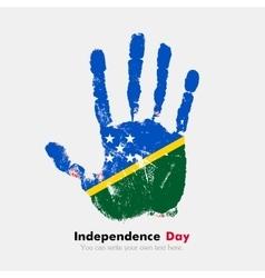 Handprint with the Flag of Solomon Islands in vector