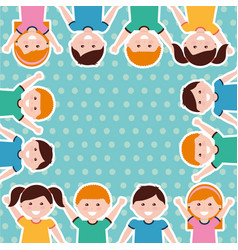happy cartoon kids background vector image