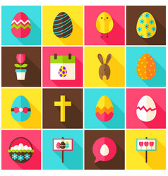 happy easter colorful icons vector image