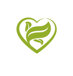 Heart shape composed with green leaves living in vector