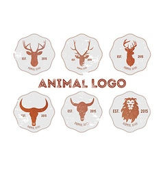 hipster retro logotype with head deer lion and vector image