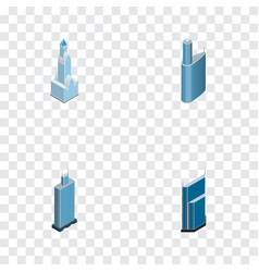 isometric construction set of skyscraper urban vector image