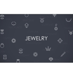 Jewelry Thin Line Icons vector image