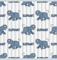 Kawaii cartoon elephant with text seamless pattern vector