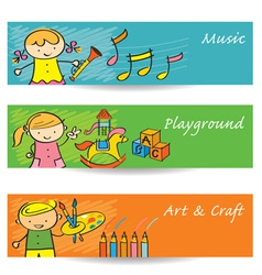 Kids Music Art Playground Banner vector