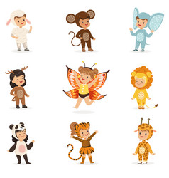 Kinds in animal costume disguise happy and ready vector