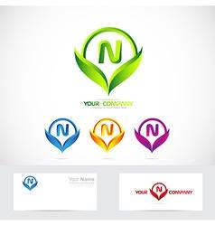 Letter N green leafs logo set vector image