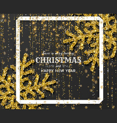 merry christmas background with shiny golden vector image