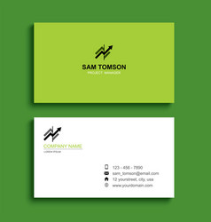 minimal business card print template design green vector image
