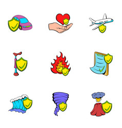 Misadventure icons set cartoon style vector