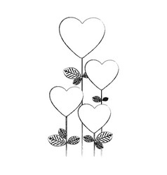 monochrome blurred silhouette with floral branch vector image