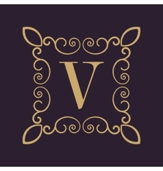 Monogram letter V Calligraphic ornament Gold vector