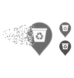 Moving pixel halftone recycle bin marker icon vector
