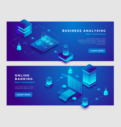 online banking and business analysis concept vector image