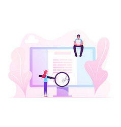 Online contract signing concept tiny woman vector