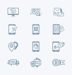 Online shopping icons - tech series vector