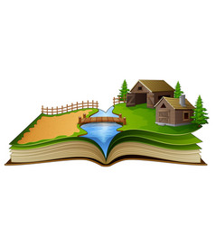 open book with farm scene barn and river on a whi vector image