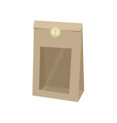 Package empty kraft paper bag for baking vector
