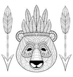Panda with warbonnet arrows in zentangle style vector image