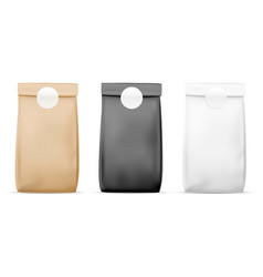Paper packaging food bag blank white brown and vector
