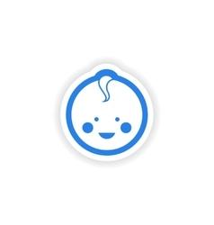 Paper stickers on white background newborn boy vector