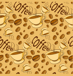 Pattern of coffee beans on beige background vector