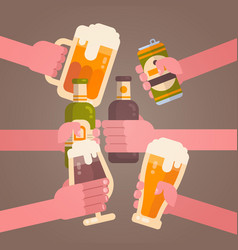 People hands clinking beer cheering party vector