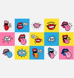 pop art lips seamless pattern sexy woman s vector image