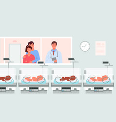 Preterm baby incubators neonatologist and happy vector