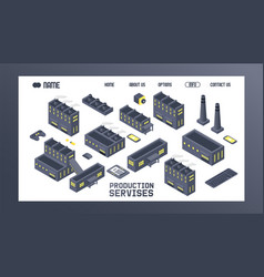 production service isometric building producing vector image