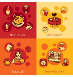 Restaurant design concept 4 flat icons vector