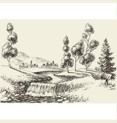 river flow landscape hand drawn nature background vector image