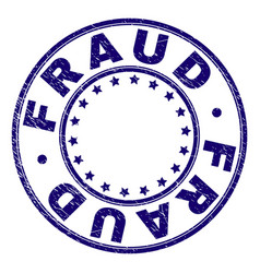 Scratched textured fraud round stamp seal vector