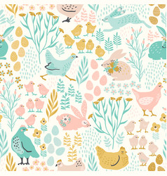 Seamless pattern with bunnies and chicken vector