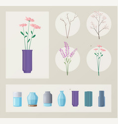 set flowers and vases vector image