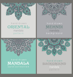 set four cards or flyers with abstract henna vector image