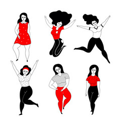 Set happy plus size girls vector