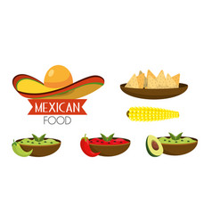 Set mexican food with spicy sauces vector