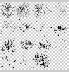 set of fireworks silhouette black and white trace vector image