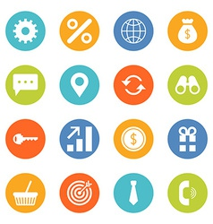 Set of flat design business and finance icons vector