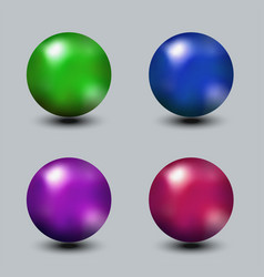 set of realistic metal or glass bright color vector image