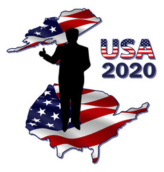 Silhouette president on usa map vector