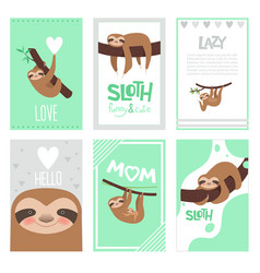 sloth cards design pajama textile print with cute vector image