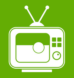 soccer match on tv icon green vector image