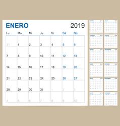 spanish calendar 2019 vector image