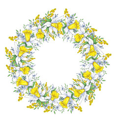 Spring bright wreath with daffodils and forget-me vector