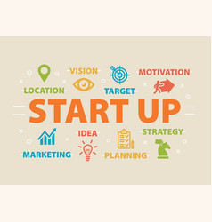 start up concept with icons vector image